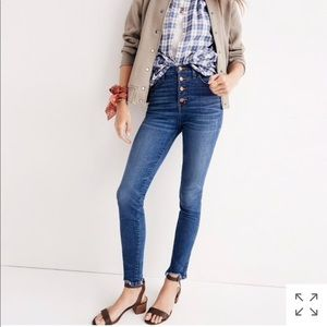 """Madewell 10"""" skinny button down jeans size 28"""